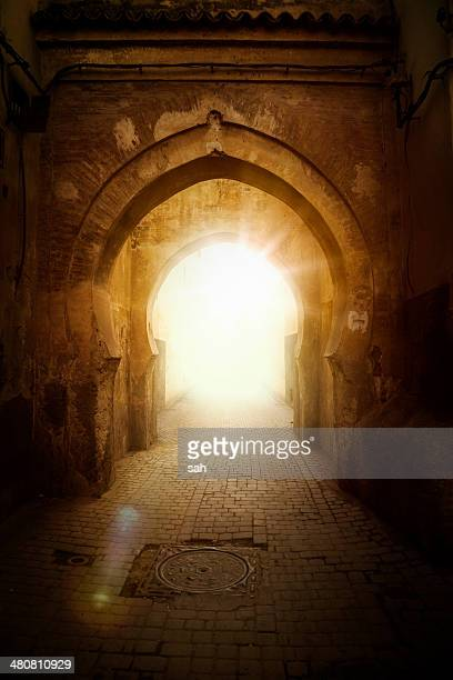 Archway with sunlight, Marrakech, Morocco