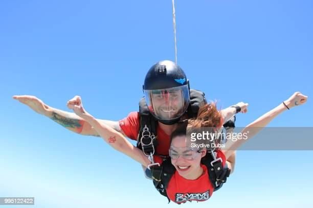 Arci Munoz aka Ramona Thornes captured in freefall while skydiving in Dubai United Arab Emirates on June 17 2018