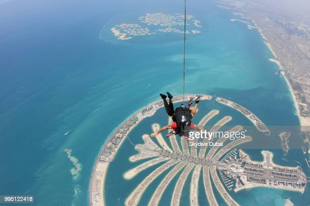 Arci Munoz aka Ramona Thornes in freefall over the man made Palm Jumeirah Island in Dubai United Arab Emirates on June 17 2018