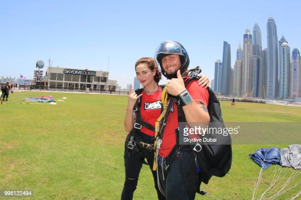 Arci Munoz aka Ramona Thornes poses for a photo right after landing from a tandem skydive in Dubai United Arab Emirates on June 17 2018