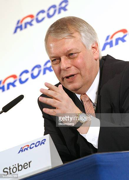 Arcor AG Chief Executive Officer Harald Stoeber speaks at the CeBIT technology fair in Hannover Germany Wednesday March 14 2007 Arcor AG the German...