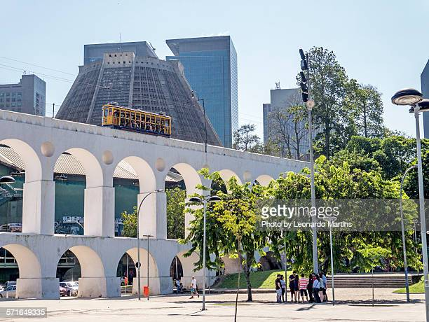 arcos da lapa, bondinho and downtown - limpet stock pictures, royalty-free photos & images