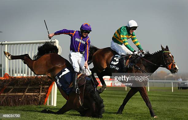 Arctic Fire ridden by Ruby Walsh falls at the last as Jezki ridden by Tony McCoy lands ahead of them to go on and win the Doom Bar Aintree Hurdle at...