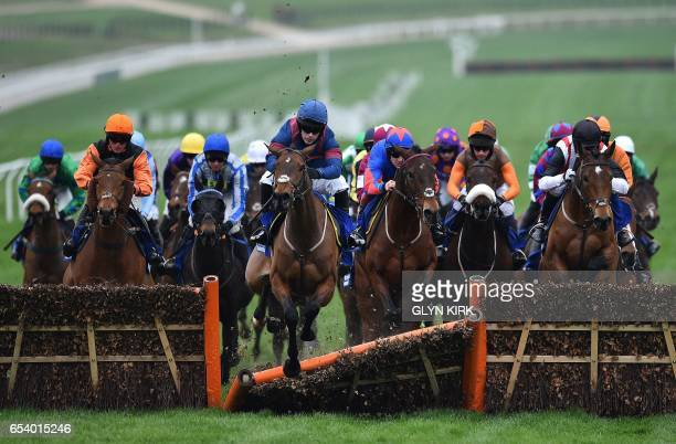 Arctic Gold' ridden by jockey Tom Humphries crashes through a hurdle in The Pertemps Network Final Handicap Hurdle Race on the third day of the...