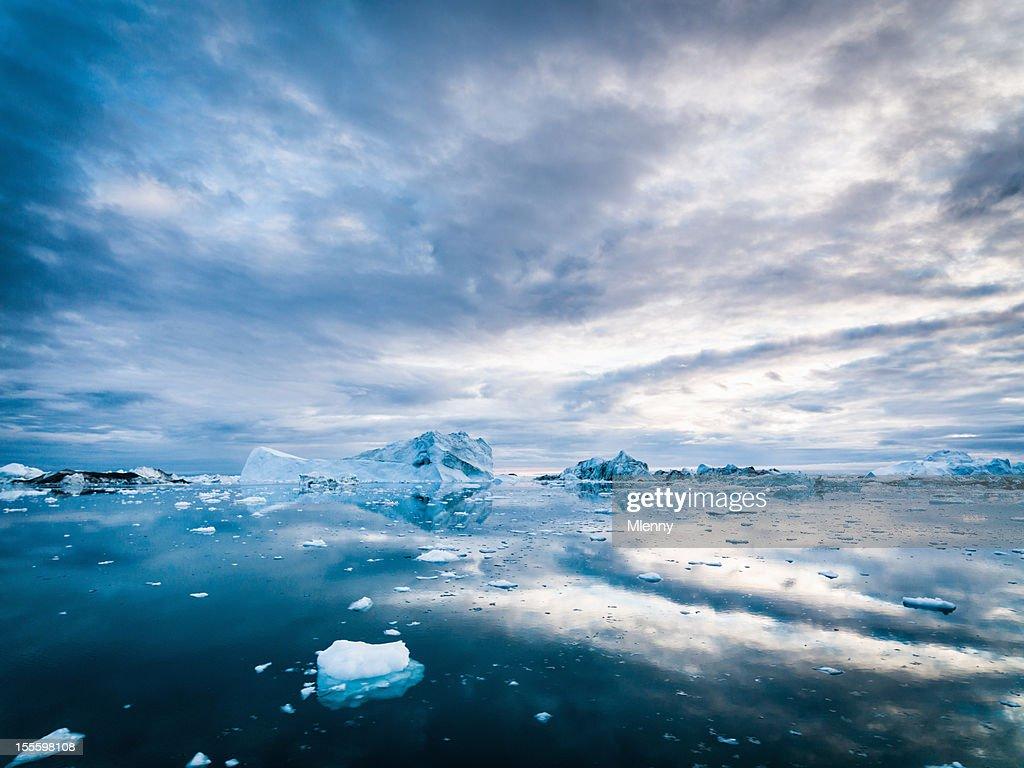 Arctic Eisberge Grönland Ilulissat-Fjord Morgen Sonnenaufgang : Stock-Foto