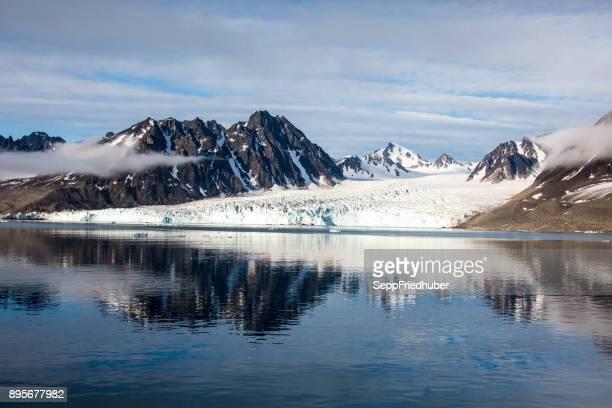 Arctic landscape in Spitzbergen Monaco glacier