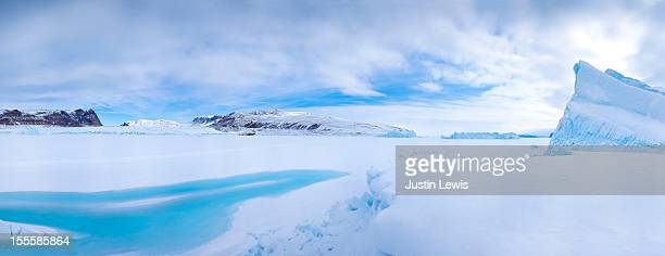 Arctic landscape on sunny day with ice and iceberg