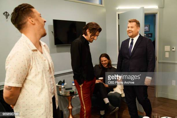 Arctic Monkeys chats in the green room with James Corden during 'The Late Late Show with James Corden' Monday May 14 2018 On The CBS Television...