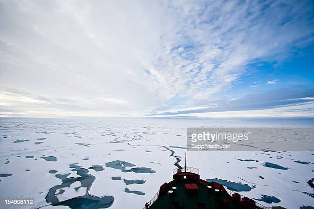 Arctic ocean with pack ice in front of an icebreaker