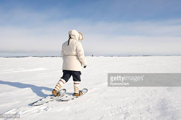 arctic snowshoeing, yellowknife. - north stock pictures, royalty-free photos & images