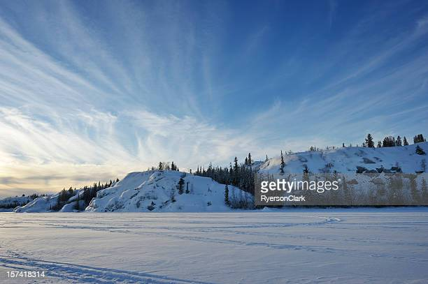 arctic sunset near yellowknife. - north stock pictures, royalty-free photos & images