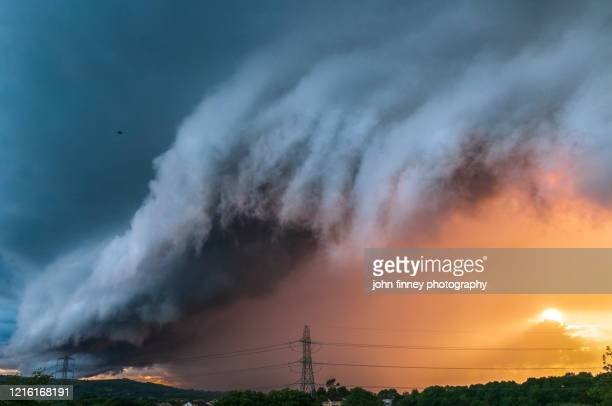 arcus stormy cloud over a a moody sky. north west england. uk. - manchester england stock pictures, royalty-free photos & images