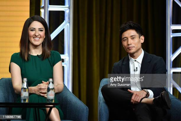 D'Arcy Carden and Manny Jacinto of 'The Good Place' speak during the NBC segment of the 2019 Summer TCA Press Tour at The Beverly Hilton Hotel on...