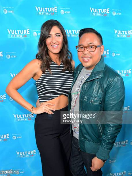 Arcy Carden and Nicos Santos attend the ''Unreal vs Superstore Pop Culture Trivia Game Show' part of Vulture Festival LA Presented by ATT at...