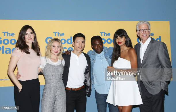 Arcy Carden Kristen Bell Manny Jacinto William Jackson Harper Jameela Jamil and Ted Danson attend NBC's 'The Good Place' FYC event held at UCB Sunset...