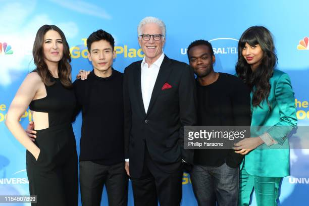 D'Arcy Carden Manny Jacinto Ted Danson William Jackson Harper and Jameela Jamil attend the FYC event for NBC's The Good Place at Saban Media Center...