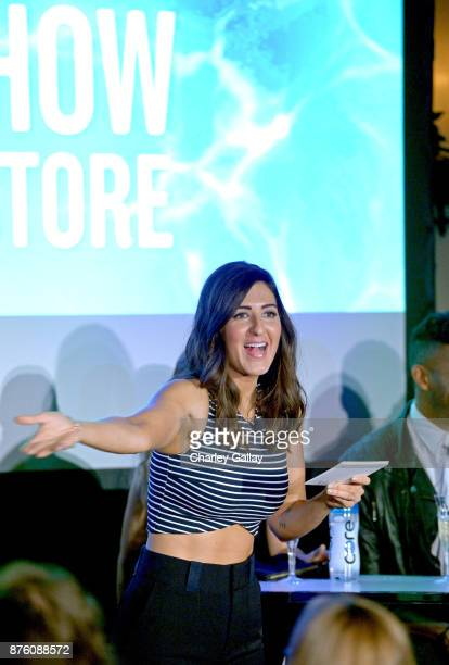 Arcy Carden speaks onstage during the ''Unreal vs Superstore Pop Culture Trivia Game Show' part of Vulture Festival LA Presented by ATT at Hollywood...
