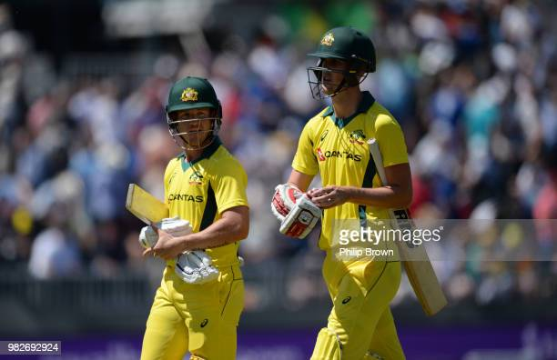 Arcy Short and Billy Stanlake of Australia leave the field during the fifth Royal London OneDay International match between England and Australia at...