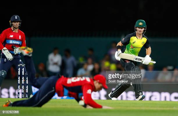 Arcy Short of Australia bats as Eoin Morgan captain of England dives and misses the ball during the Twenty20 International match between Australia...