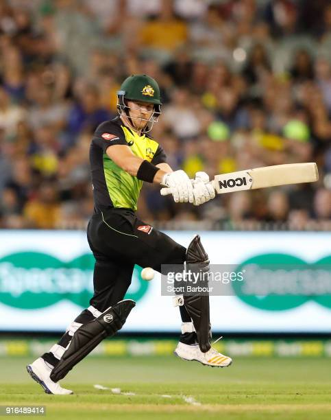 Arcy Short of Australia bats during game two of the International Twenty20 series between Australia and England at Melbourne Cricket Ground on...