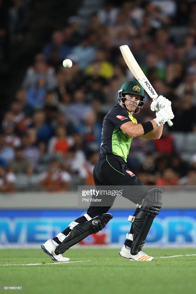 D'Arcy ShortÊ of Australia bats during the International Twenty20 Tri Series Final match between New Zealand and Australia at Eden Park on February 21, 2018 in Auckland, New Zealand.