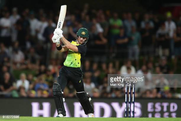 Arcy Short of Australia bats during the Twenty20 International match between Australia and England at Blundstone Arena on February 7 2018 in Hobart...
