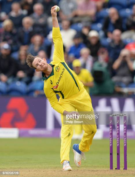 D'arcy Short of Australia bowls during the second Royal London OneDay International match between England and Australia at the SWALEC Stadium on June...