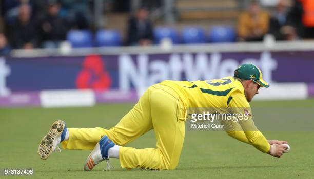Arcy Short of Australia catches the ball to dismiss Joe Root of England during the 2nd Royal London One day International match between England and...