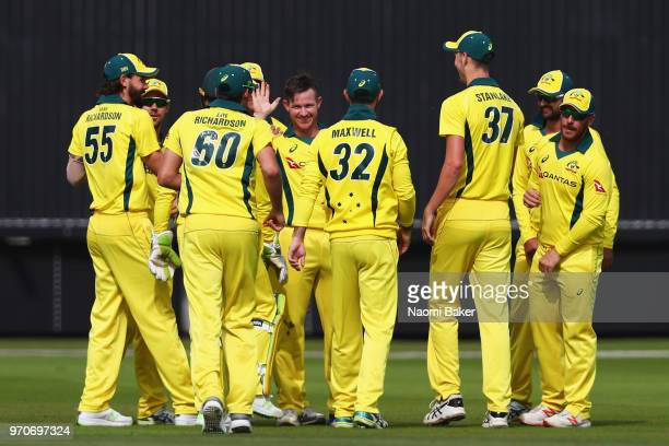 Arcy Short of Australia celebrates with teammates after dismissing Hilton Cartwright of Middlesex during the Middlesex and Australia Tour Match at...