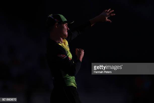 Arcy Short of Australia fields during the International Twenty20 Tri Series Final match between New Zealand and Australia at Eden Park on February 21...