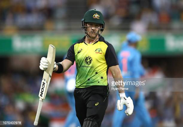 Arcy Short of Australia looks dejected after being dismissed by Khaleel Ahmed of India during game one of the the International Twenty20 series...