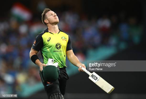 Arcy Short of Australia looks dejected after being dismissed by Krunal Pandya of india during the International Twenty20 match between Australia and...