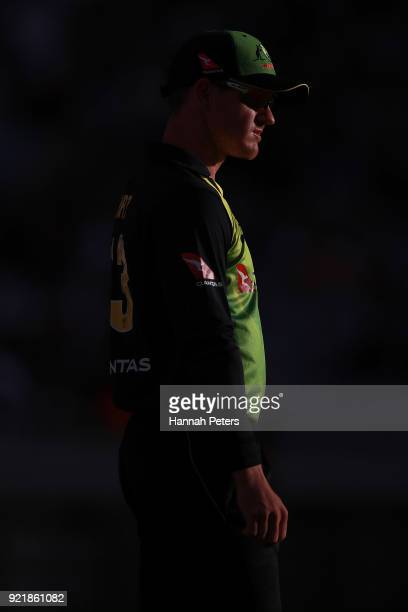 Arcy Short of Australia looks on during the International Twenty20 Tri Series Final match between New Zealand and Australia at Eden Park on February...
