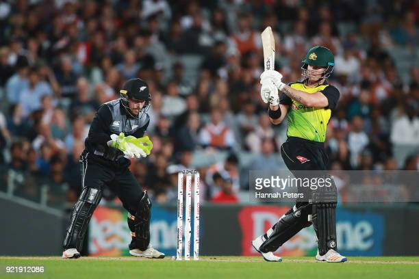Arcy Short of Australia plays the ball away for four runs during the International Twenty20 Tri Series Final match between New Zealand and Australia...
