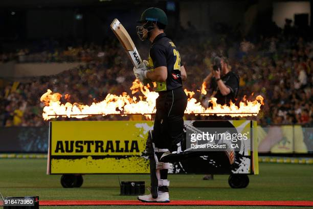 Arcy Short of Australia runs out during game two of the International Twenty20 series between Australia and England at Melbourne Cricket Ground on...