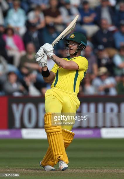 Arcy Short of Australia scores runs during the 2nd Royal London ODI match between England and Australia at SWALEC Stadium on June 16 2018 in Cardiff...