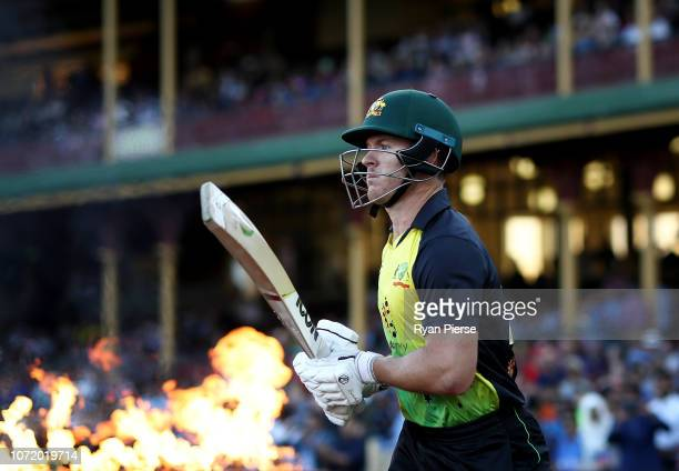 Arcy Short of Australia walks out to bat during the International Twenty20 match between Australia and India at Sydney Cricket Ground on November 25...