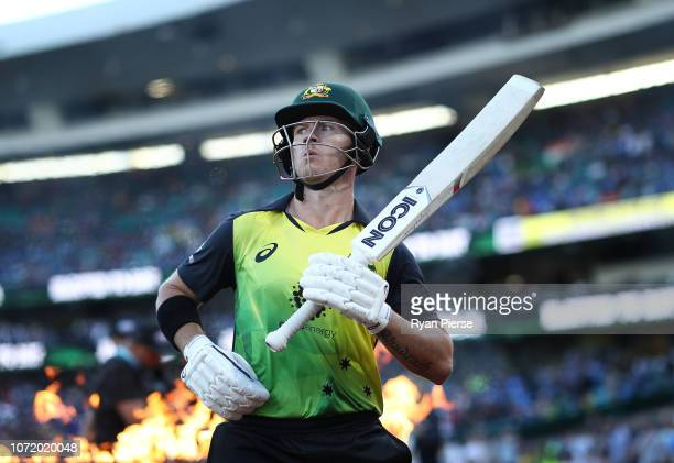 Arcy Short of Australia walks out to bat during the International Twenty20 match between Australia and India at Sydney Cricket Ground on November 25,...