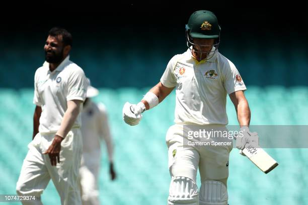 Arcy Short of Australia XI looks dejected after being dismissed by Mohammed Shami of India during day three of the International Four Day tour match...