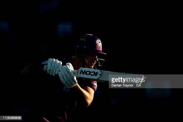 Arcy Short of the Hobart Hurricanes bats during the Big Bash League match between the Hobart Hurricanes and the Adelaide Strikers at UTAS Stadium on...