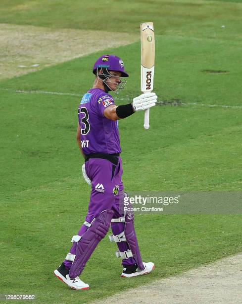 Arcy Short of the Hobart Hurricanes celebrates after scoring his half century during the Big Bash League match between the Sydney Sixers and Hobart...