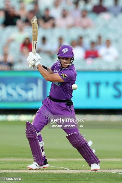 Arcy Short of the Hurricanes bats during the Big Bash League match between the Sydney Sixers and Hobart Hurricanes at Melbourne Cricket Ground, on...