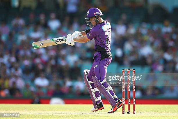 D'arcy Short of the Hurricanes bats during the Big Bash League match between the Sydney Sixers and Hobart Hurricanes at Sydney Cricket Ground on...