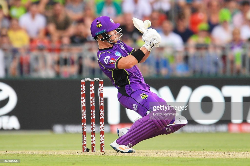 D'Arcy Short of the Hurricanes bats during the Big Bash League match between the Sydney Thunder and the Hobart Hurricanes at Spotless Stadium on January 1, 2018 in Sydney, Australia.