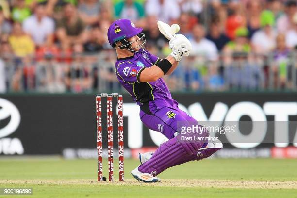 Arcy Short of the Hurricanes bats during the Big Bash League match between the Sydney Thunder and the Hobart Hurricanes at Spotless Stadium on...