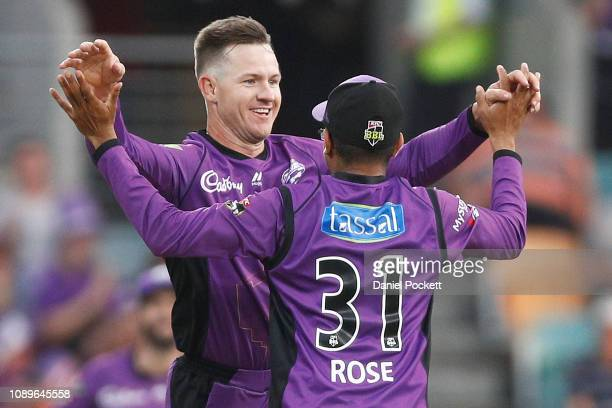 Arcy Short of the Hurricanes celebrates after running out Moises Henriques of the Sixers during the Big Bash League match between the Hobart...