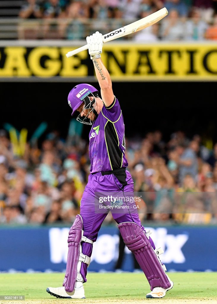 D'Arcy Short of the Hurricanes celebrates after scoring a century during the Big Bash League match between the Brisbane Heat and the Hobart Hurricanes at The Gabba on January 10, 2018 in Brisbane, Australia.