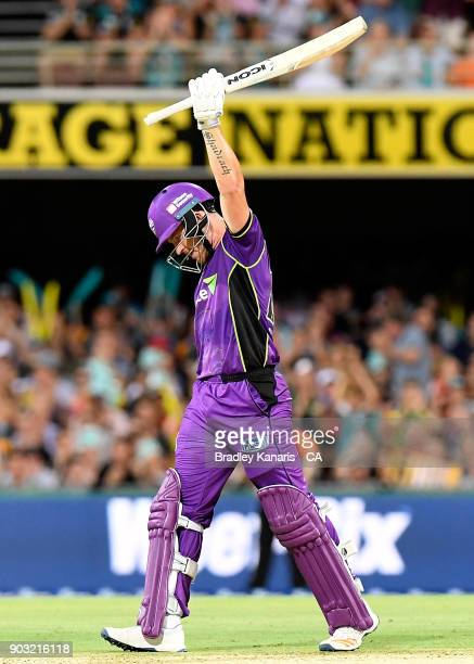 Arcy Short of the Hurricanes celebrates after scoring a century during the Big Bash League match between the Brisbane Heat and the Hobart Hurricanes...