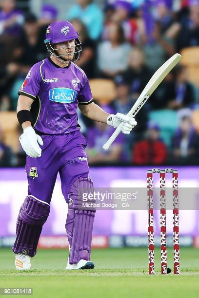 Arcy Short of the Hurricanes celebrates making his half century during the Big Bash League match between the Hobart Hurricanes and the Adelaide...