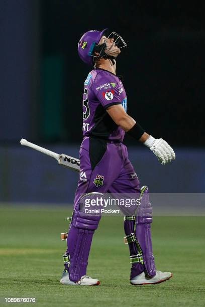 Arcy Short of the Hurricanes leaves the field after being dismissed by Sean Abbott of the Sixers during the Big Bash League match between the Hobart...